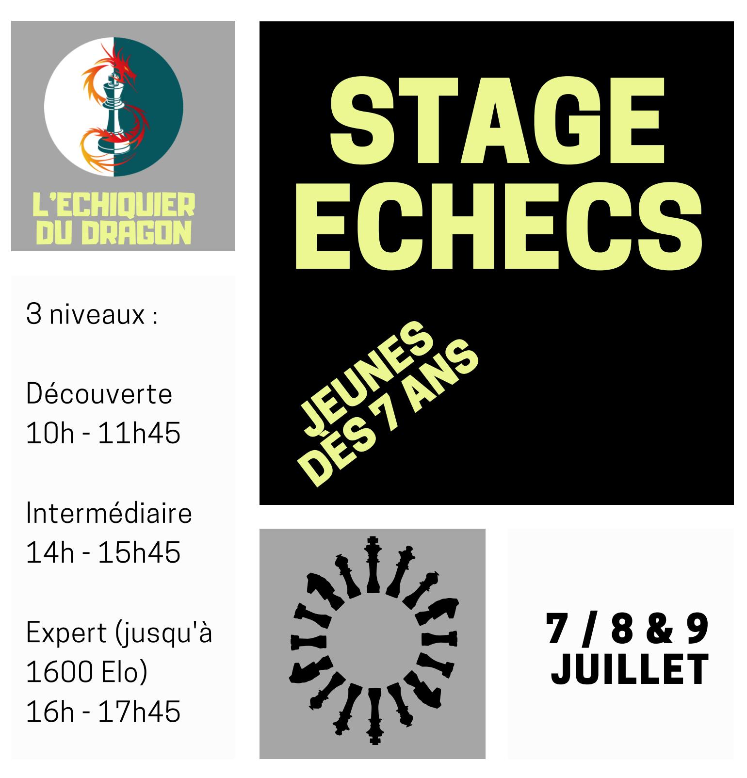 Stage d'échecs 7, 8 et 9 Juillet 2021